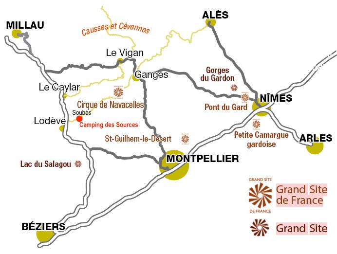 Plan d'accès camping des Sources Soubès Hérault